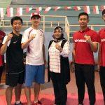 Marstio Embrian Hidayatullah (2 kiri) bersama tiga taekwondoin dan pelatih Taufik Krisna  yang akan bertarung di Summer Universiade (ist)
