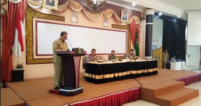 Wagub Nasrul Abit saat menyampoaikan sepatah kata dalam pertemuan bersama DPD RI. (humas)